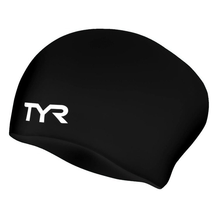 Tyr Long Hair Wrinkle-Free Swim Cap (black)
